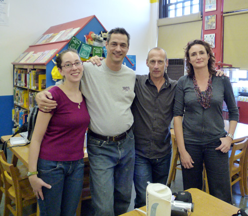 Jenny, Frank, Koen & Sabine @ PS 119 Amersfort School Library, Brooklyn