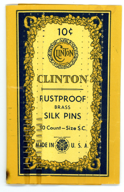 Clinton Rustproof Brass Silk Pins - Scovill Manufacturing Co - Division of Oakville Co - CT