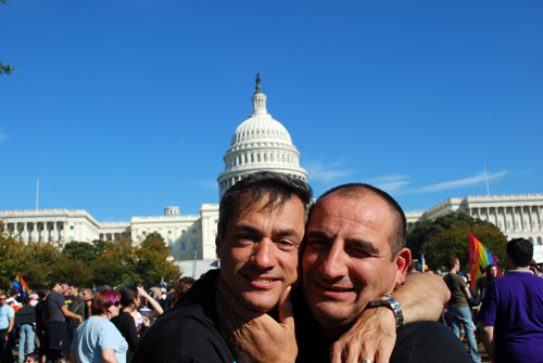 Frank & Vincenzo in front of the Capitol Building - National LGBT Equality March - October 11, 2009