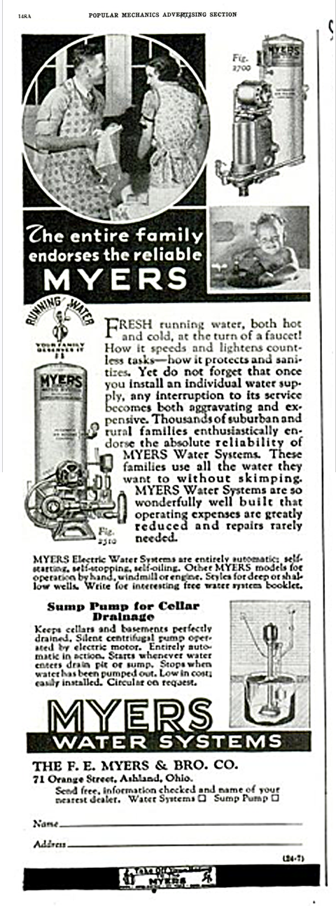 Plumbing Supply Co Vintage Myers Self Oiling Water